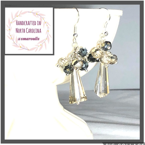 Frontrow.Style Jewelry - Sterling Silver Earrings Chic Champagne Crystal